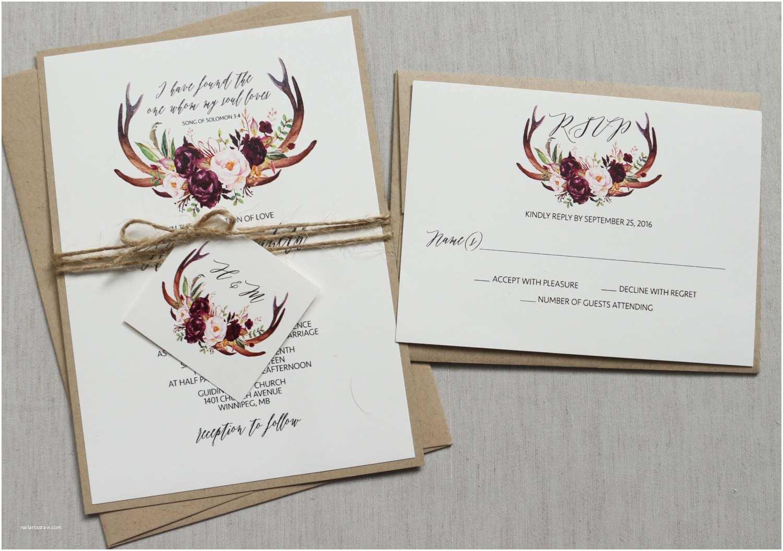 Antler Wedding Invitations Boho Antler Wedding Invitation Rustic Wedding Invitation