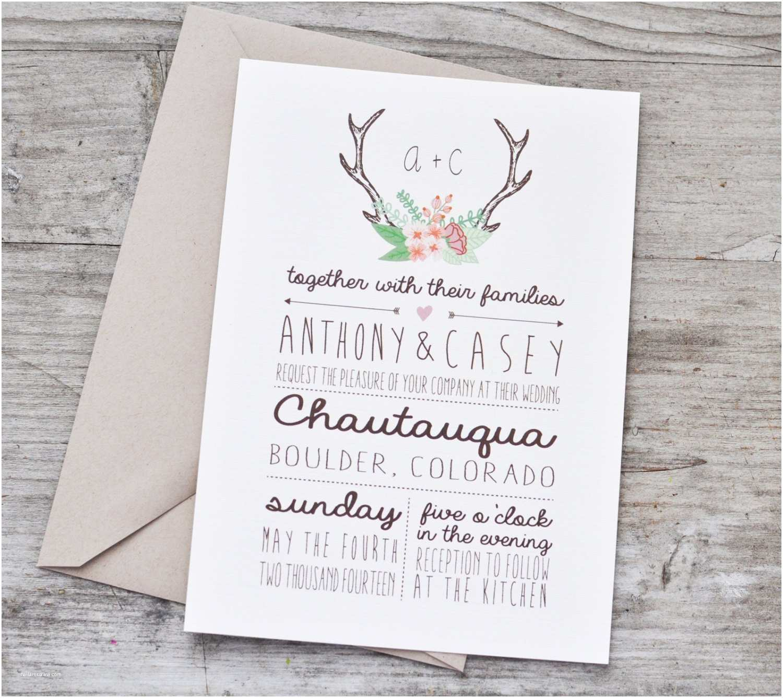 floral antlers wedding invitation suite