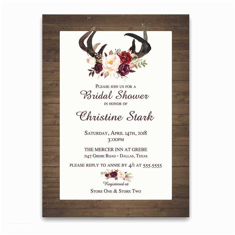 Antler Wedding Invitations Floral Bridal Shower Invitations Deer Antlers Burgundy