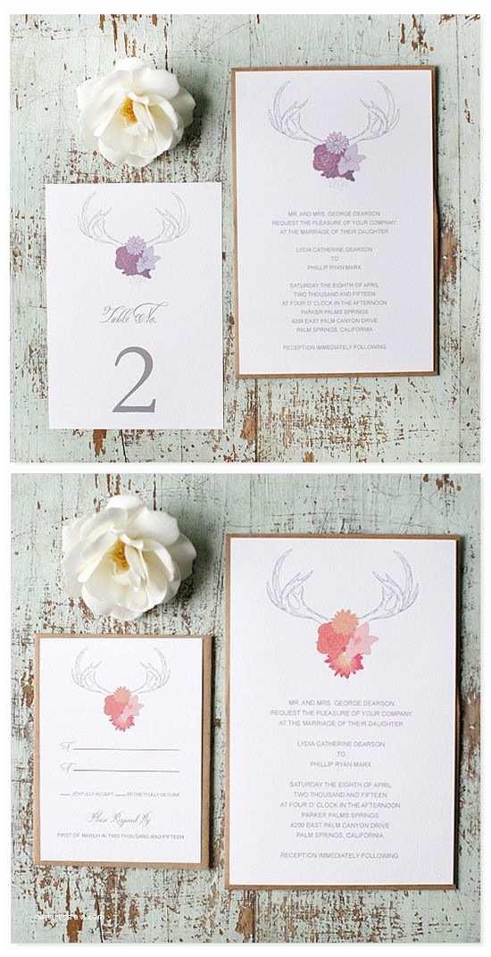Antler Wedding Invitations Free Antler Wedding Invitations