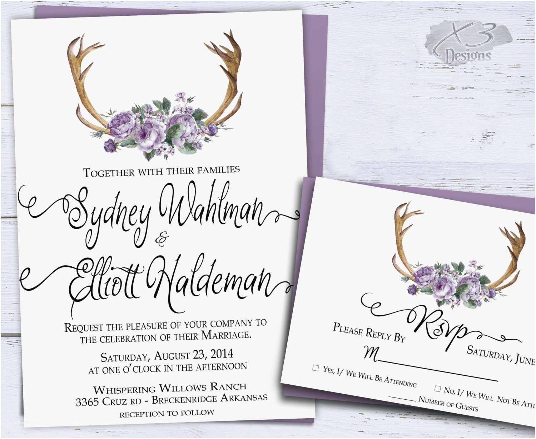 Antler Wedding Invitations Printable Antler Wedding Invitation Country Wedding Rustic