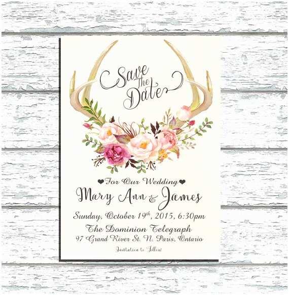 Antler Wedding Invitations Printable Save the Date Deer Antler Wedding by