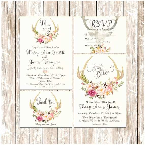 Antler Wedding Invitations Printable Wedding Invitation Suite Deer Antler Pink Floral