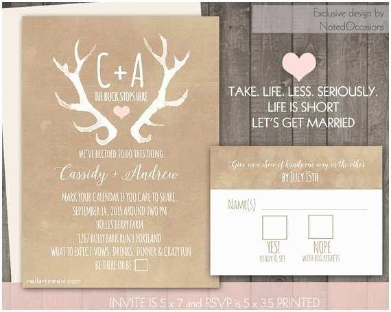 Antler Wedding Invitations Rustic Wedding Invitation Set Deer Antlers Blush Casual Blush