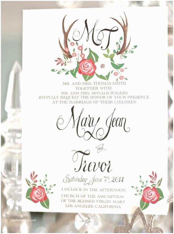 Antler Wedding Invitations Wedding Invitation Templates Antler Wedding Invitations