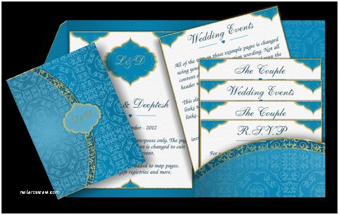 Arabic Wedding Invitations Arabic Email Wedding Invitation In Blue & Gold