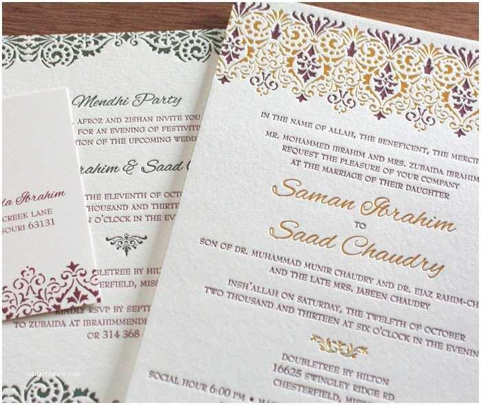 Arabic Wedding Invitations Victorian Letterpress Wedding Invitation Gallery Vintage