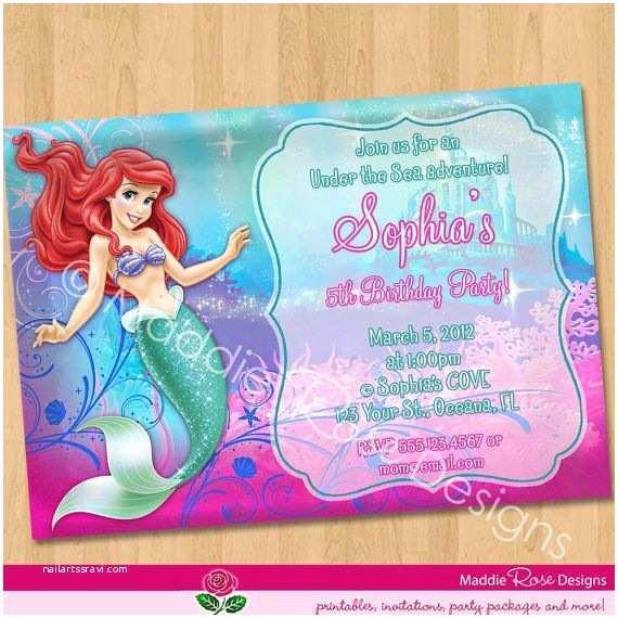 Ariel Birthday Invitations Invitation Little Mermaid
