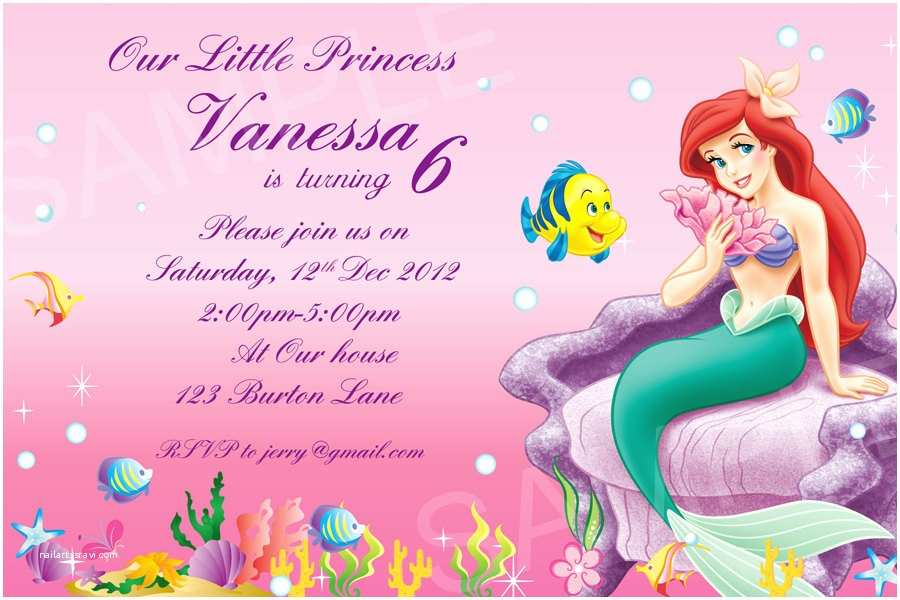 Ariel Birthday Invitations Ariel Invitation Printable Disney Princess Birthday