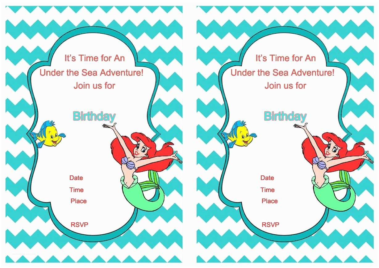 Ariel Birthday Invitations Free Printable Mermaid Birthday Invitation