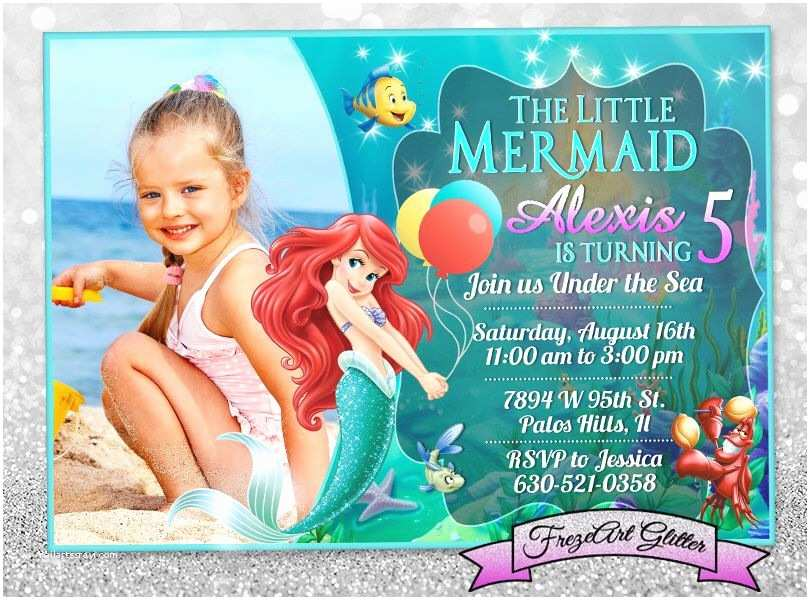Ariel Birthday Invitations Little Mermaid Invitation Disney Ariel