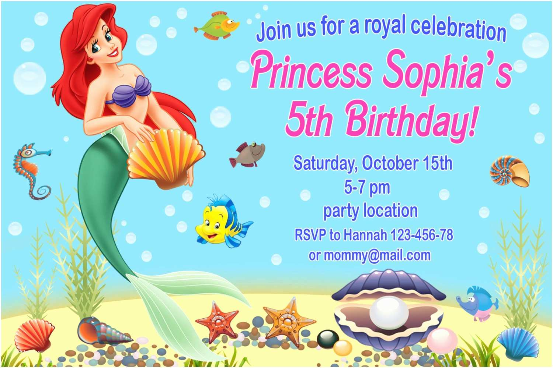 Ariel Birthday Invitations Little Mermaid Birthday Invitations – Gangcraft