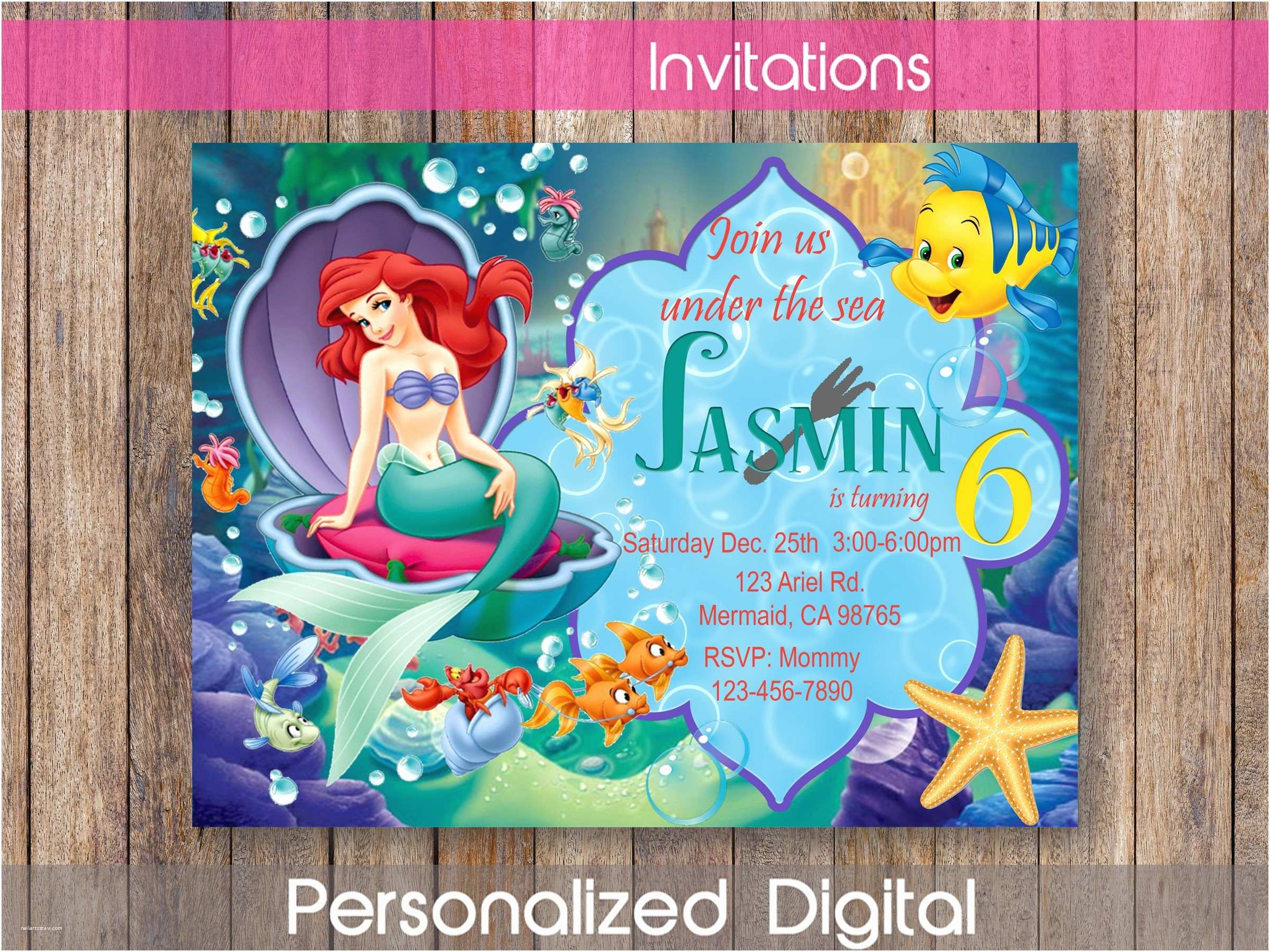 Ariel Birthday Invitations Little Mermaid Invitation Party