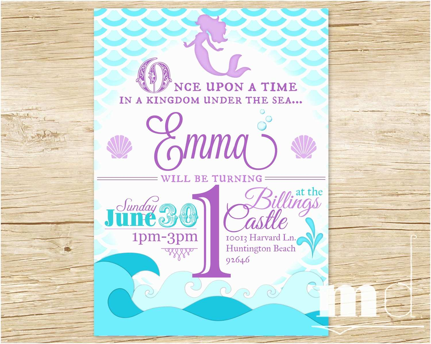 Ariel Birthday Invitations Mermaid Party Invitation Little
