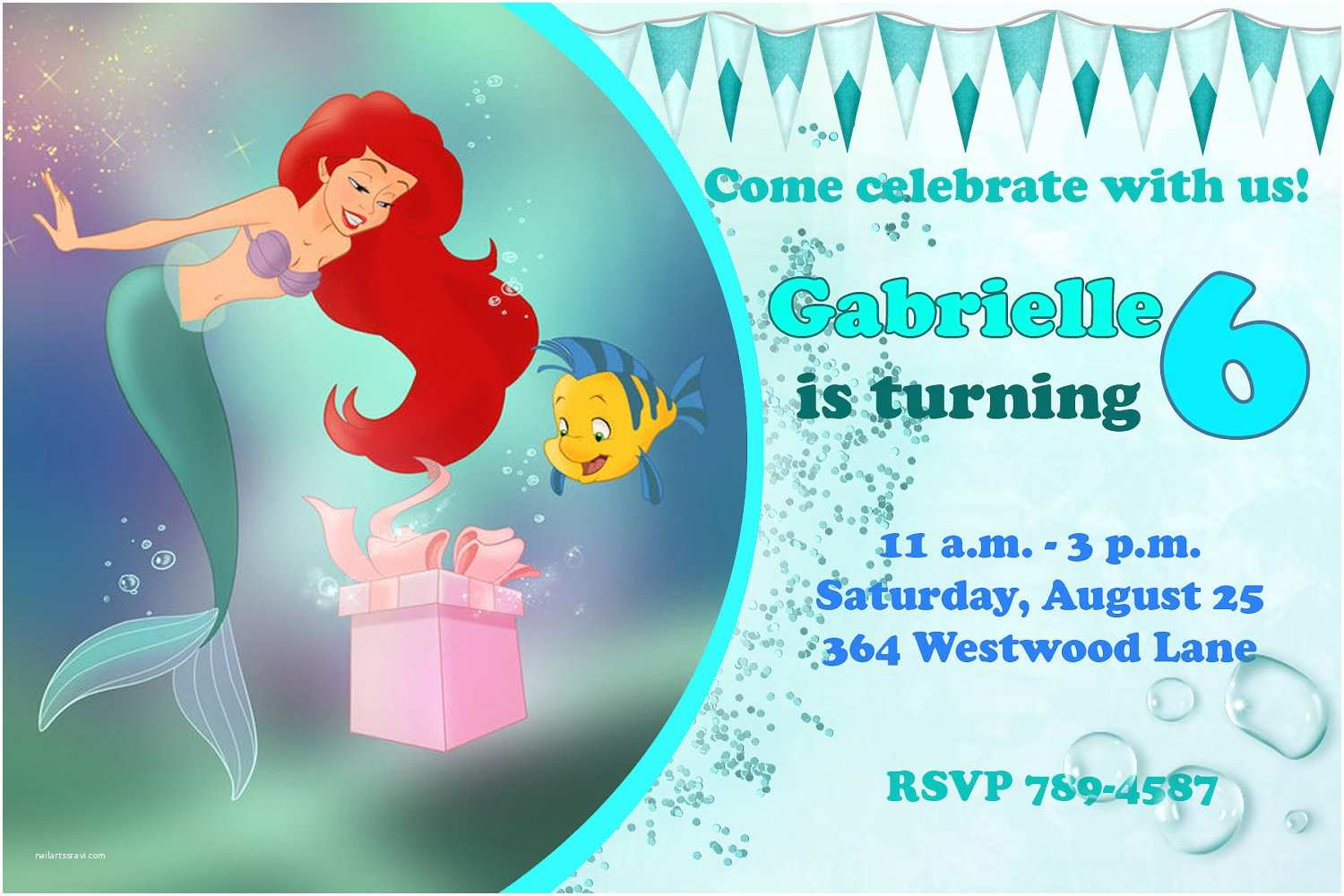 Ariel Birthday Invitations Mermaid Quotes Quotesgram