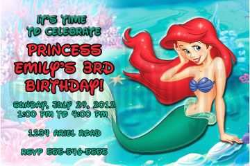 Ariel Birthday Invitations Personalized Disney The Little