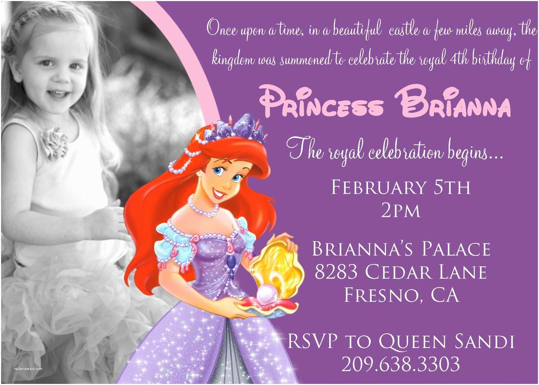 Ariel Birthday Invitations the Little Mermaid Birthday Invitations