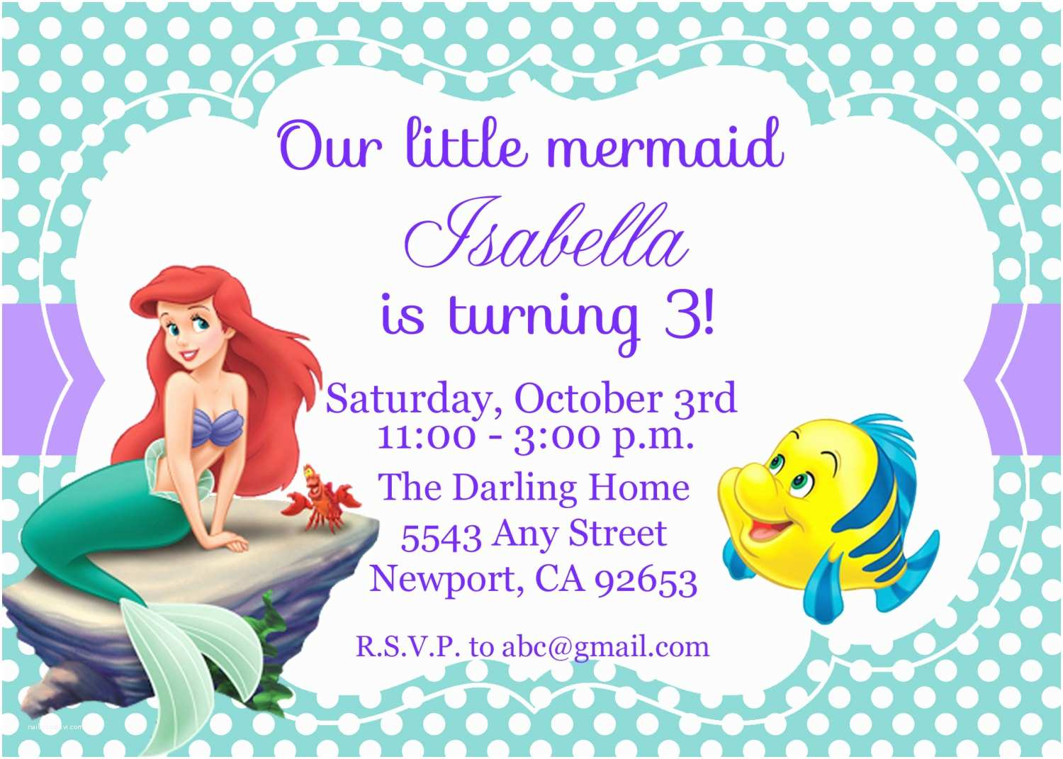 Ariel Birthday Invitations The Little Mermaid Invitation Disney By