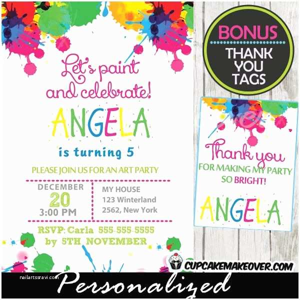 Art Birthday Party Invitations 17 Best Images About Art Painting Party Printables On