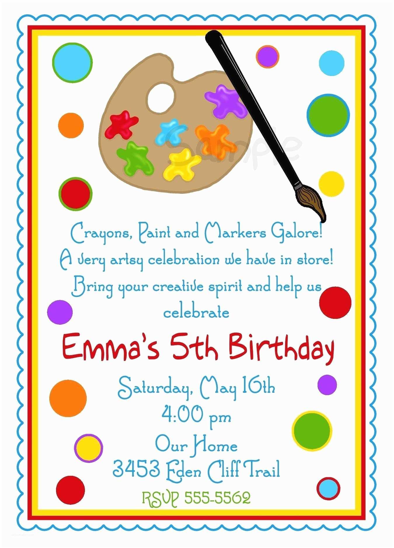 Art Birthday Party Invitations Painting Paint