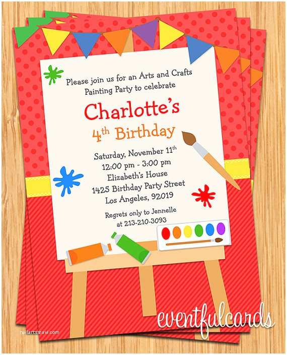 Art Birthday Party Invitations Art Painting Birthday Party Invitation for Kids by