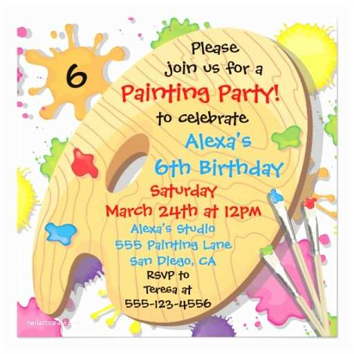 Art Birthday Party Invitations Art Painting Birthday Party Invitations