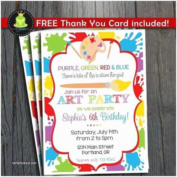 Art Birthday Party Invitations Art Party Invitation Free Thank You Card by