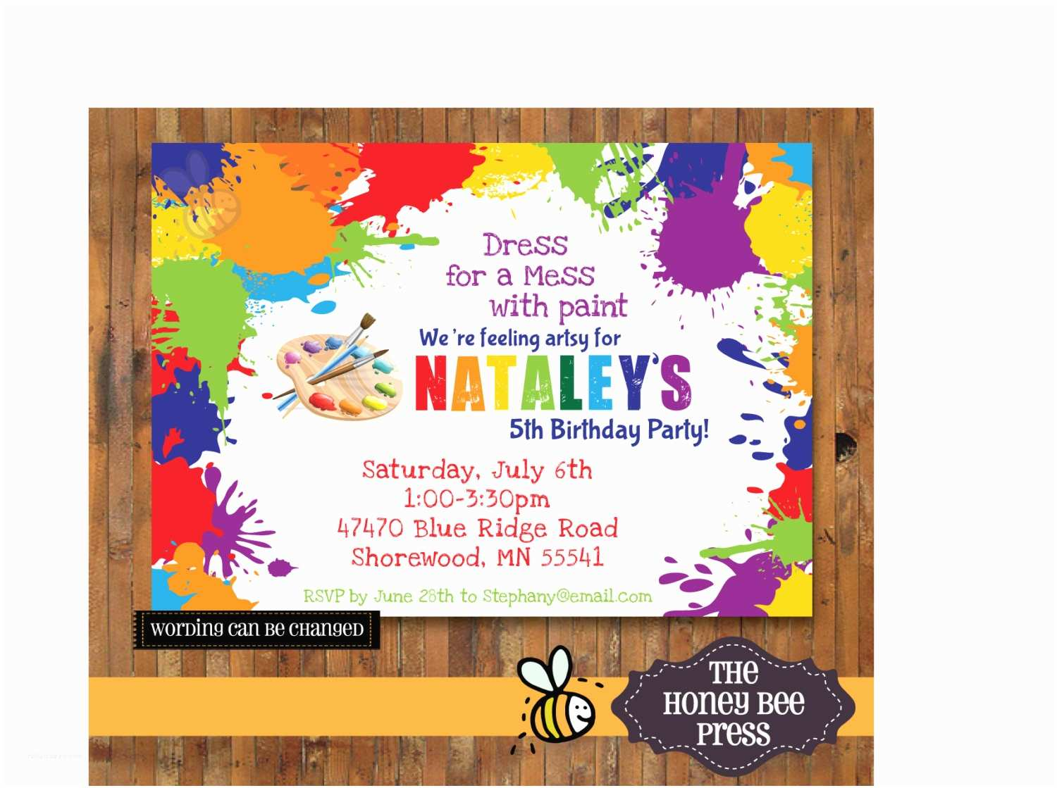 Art Birthday Party Invitations Art Party Invitation Paint Party Invitation Splatter Paint