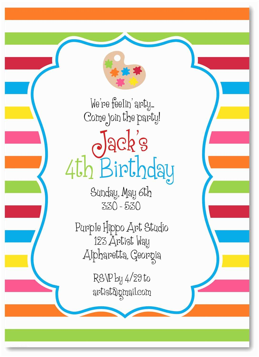 Art Birthday Party Invitations Art Party Invitations by thepreppyladybug On Etsy