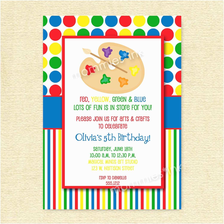 art birthday party invitations art party invitations printables