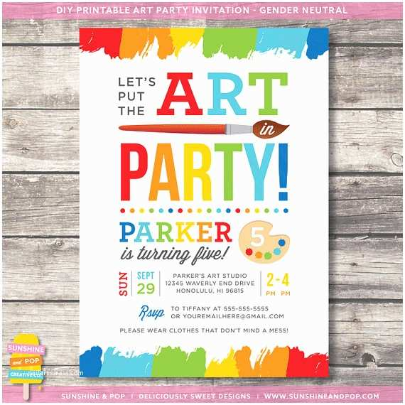 Art Birthday Party Invitations Art Party Invitations Template