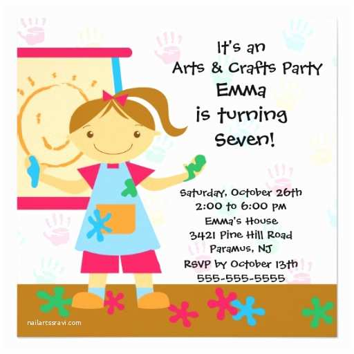 Art Birthday Party Invitations Arts & Crafts Birthday Party 5 25x5 25 Square Paper