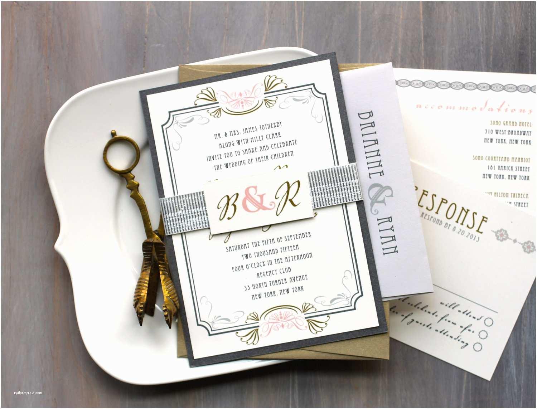 Art Deco Wedding Invitations Elegant Art Deco Wedding Invitation Suite