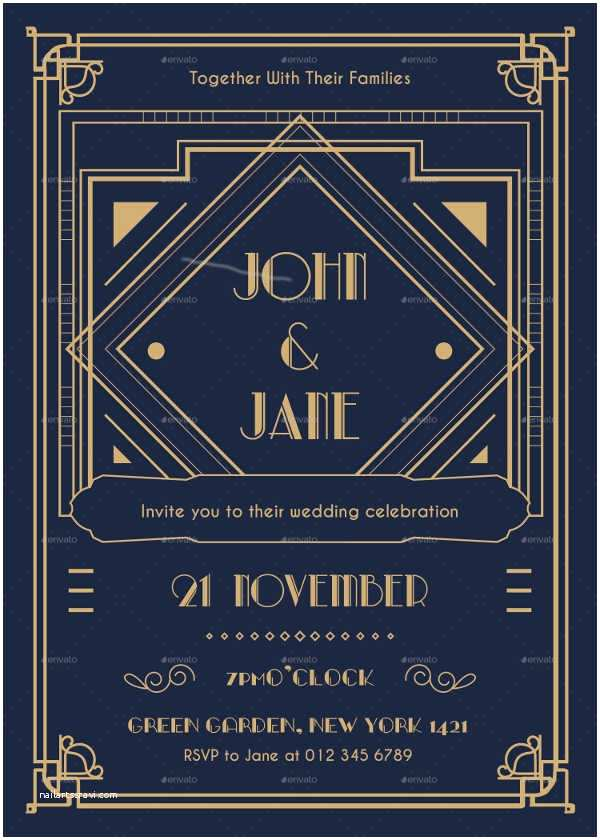Art Deco Wedding Invitations Free Download 10 Art Deco Wedding Invitations Free Psd Vector Ai