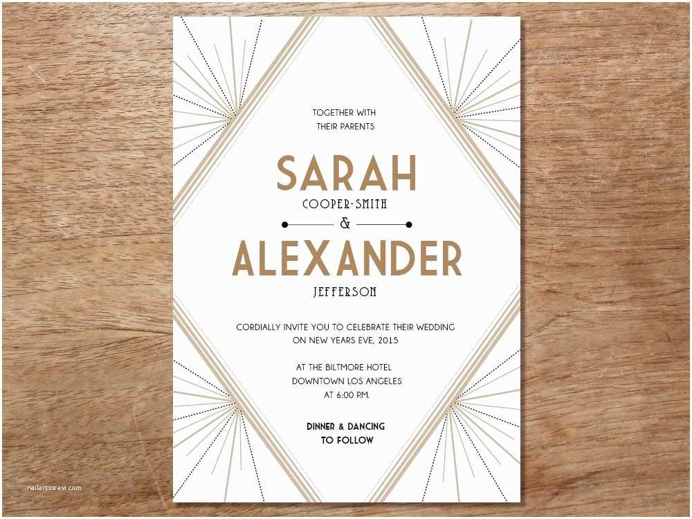 Art Deco Wedding Invitations Free Download Art Deco Invitation Template Templates Resume Examples