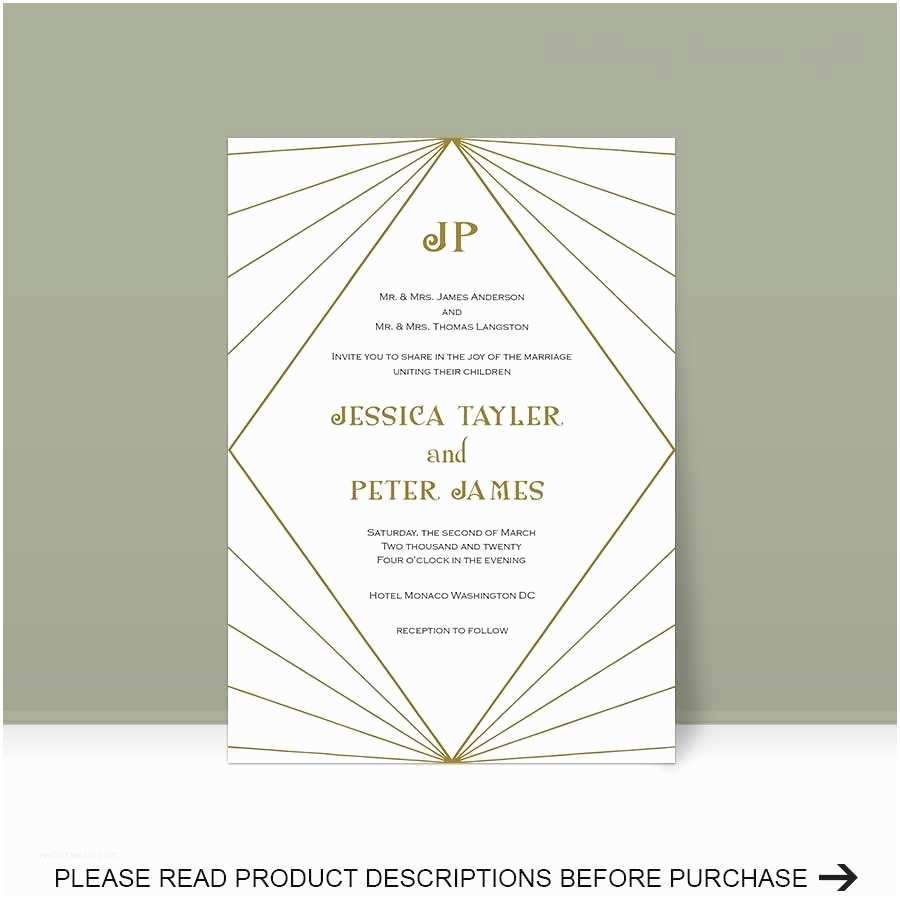 Art Deco Wedding Invitations Free Download Art Deco Invitation Template Wedding Invitation Template