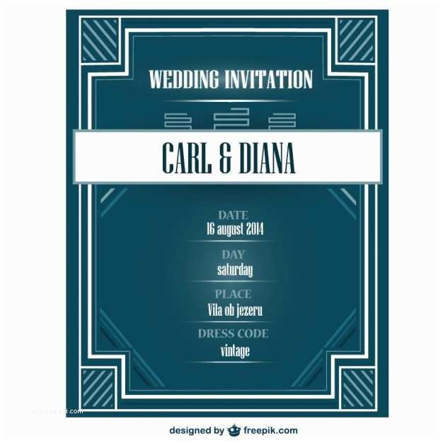 Art Deco Wedding Invitations Free Download Art Deco Wedding Invitation Card Vector
