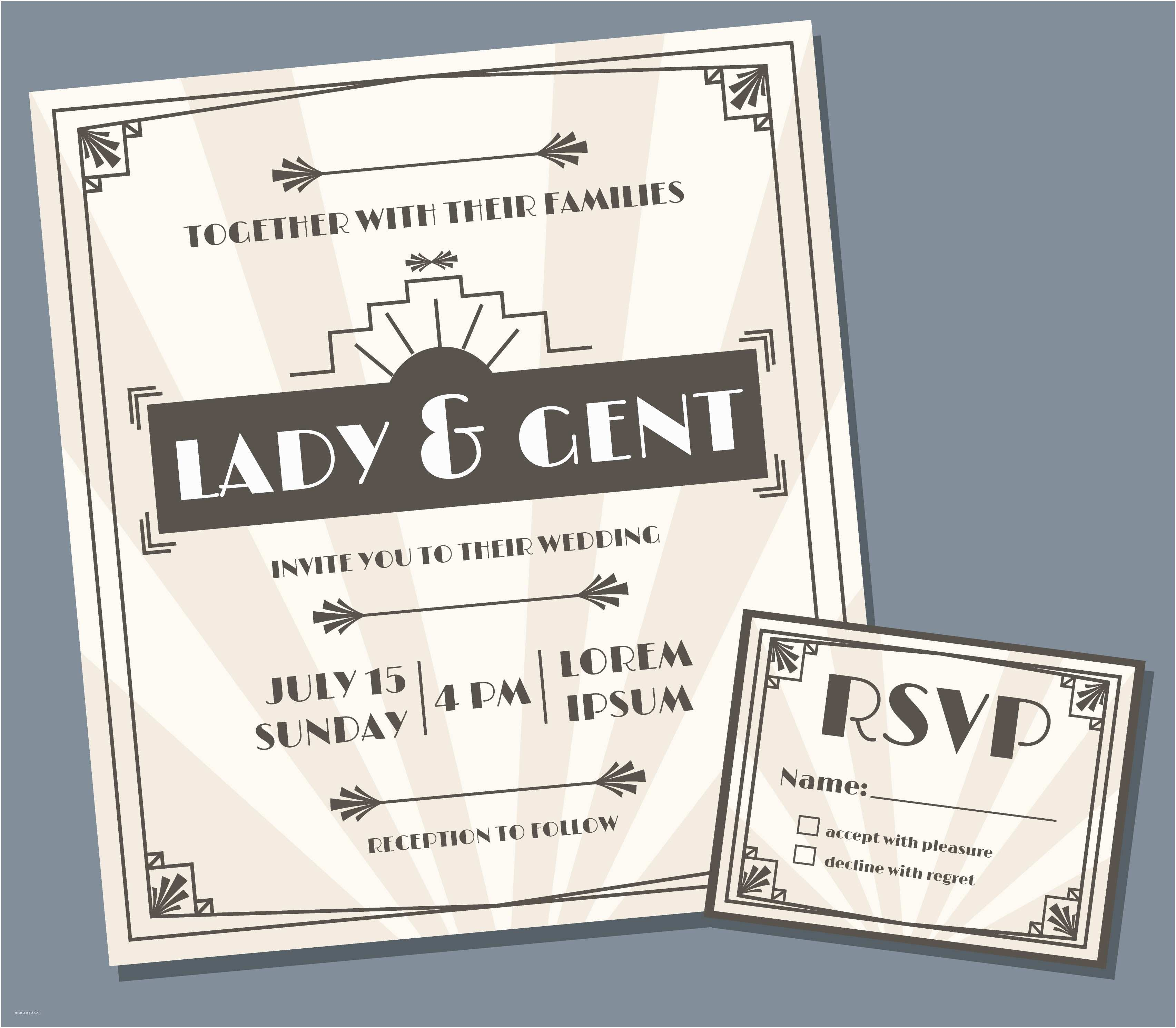 Art Deco Wedding Invitations Free Download Art Deco Wedding Invitation Design Vector Download Free