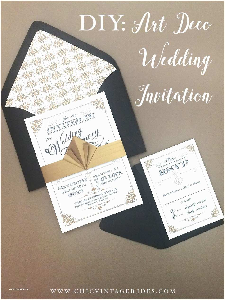 Art Deco Wedding Invitations Free Download Art Deco Wedding Invitation Diy with Download & Print
