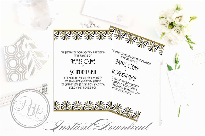 Art Deco Wedding Invitations Free Download Art Deco Wedding Invitation Template Instant Download 5x7 Pdf