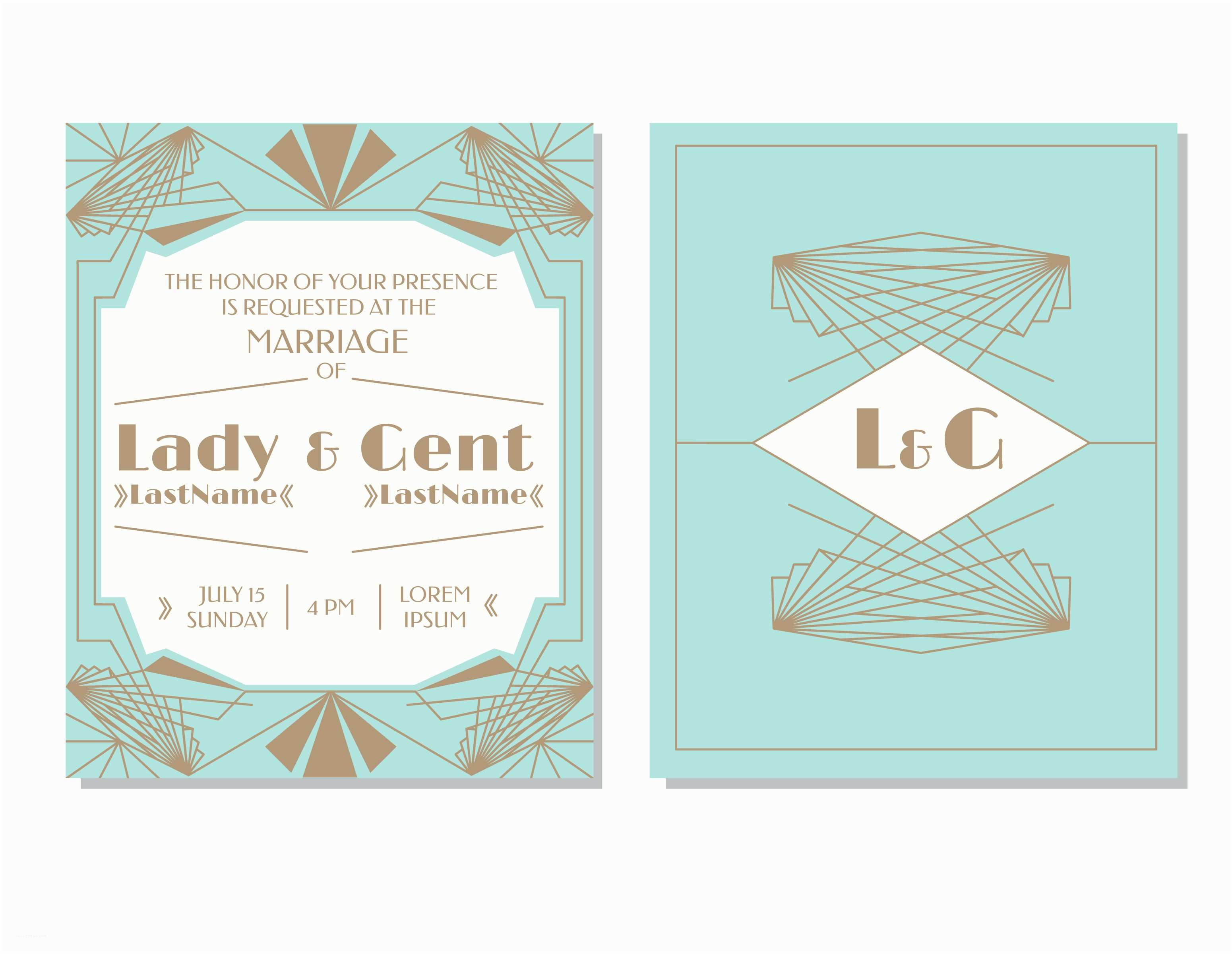 Art Deco Wedding Invitations Free Download Art Deco Wedding Invitation Vector Download Free Vector