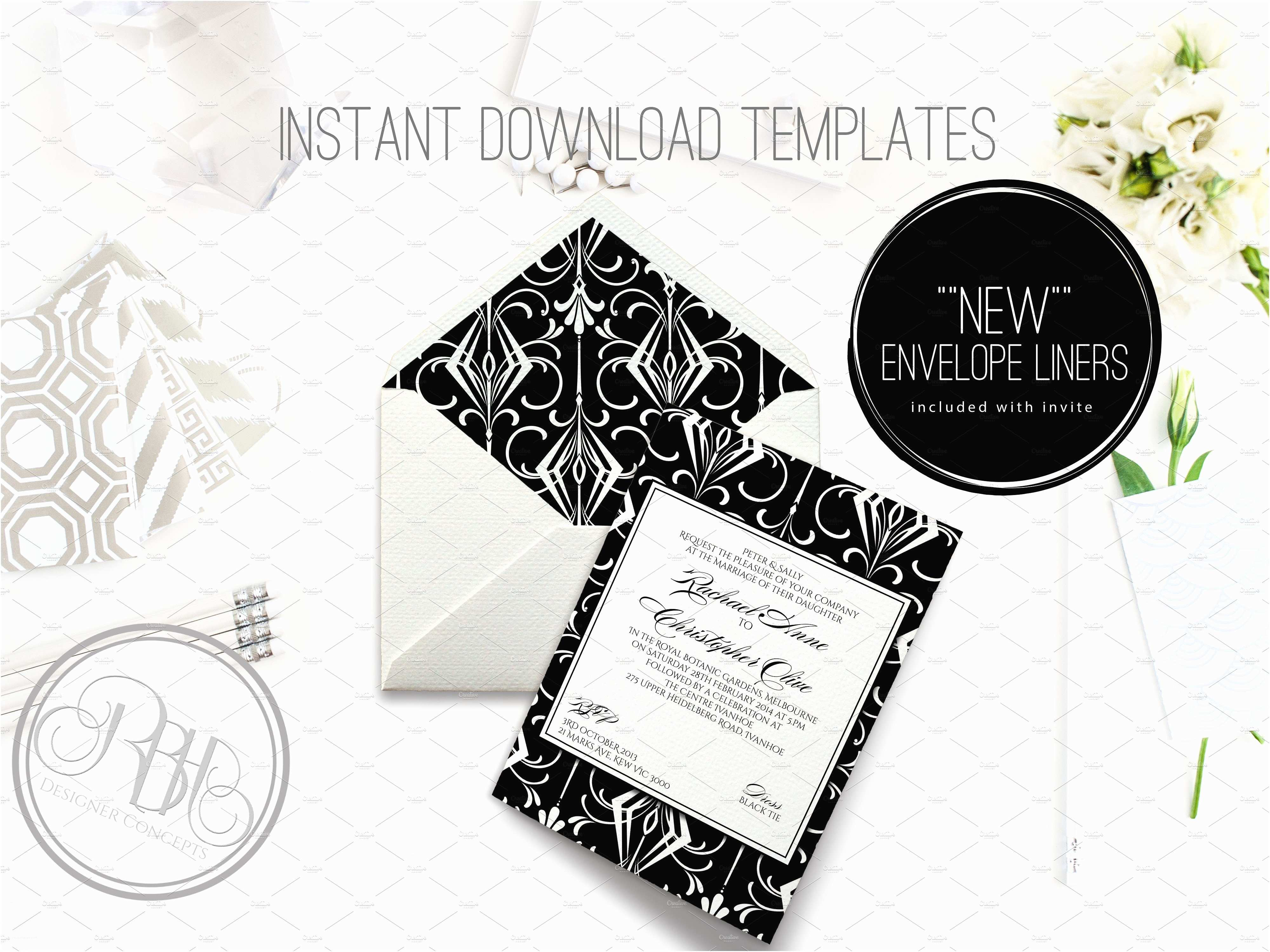 Art Deco Wedding Invitations Free Download Art Deco Wedding Invite Clare Invitation Templates