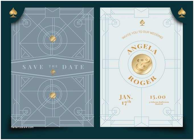 Art Deco Wedding Invitations Free Download Blue Vintage Steampunk Art Deco Wedding Invitation Vector