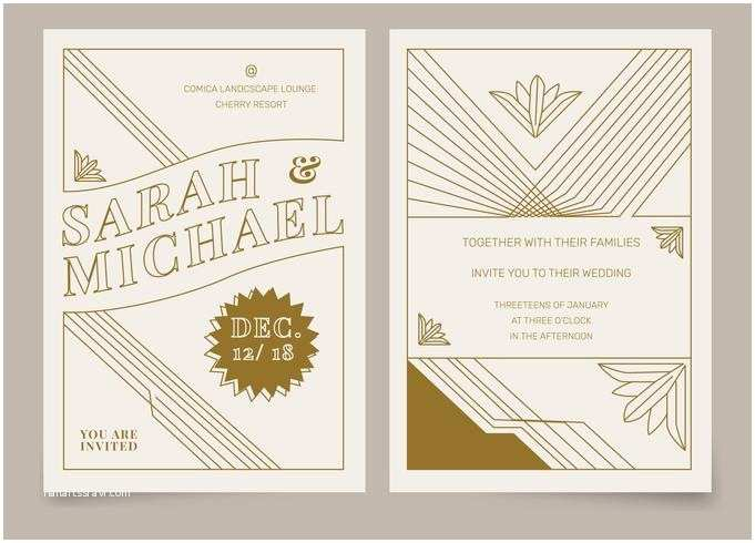 Art Deco Wedding Invitations Free Download Brown Vintage Art Deco Wedding Invitation Vector Template