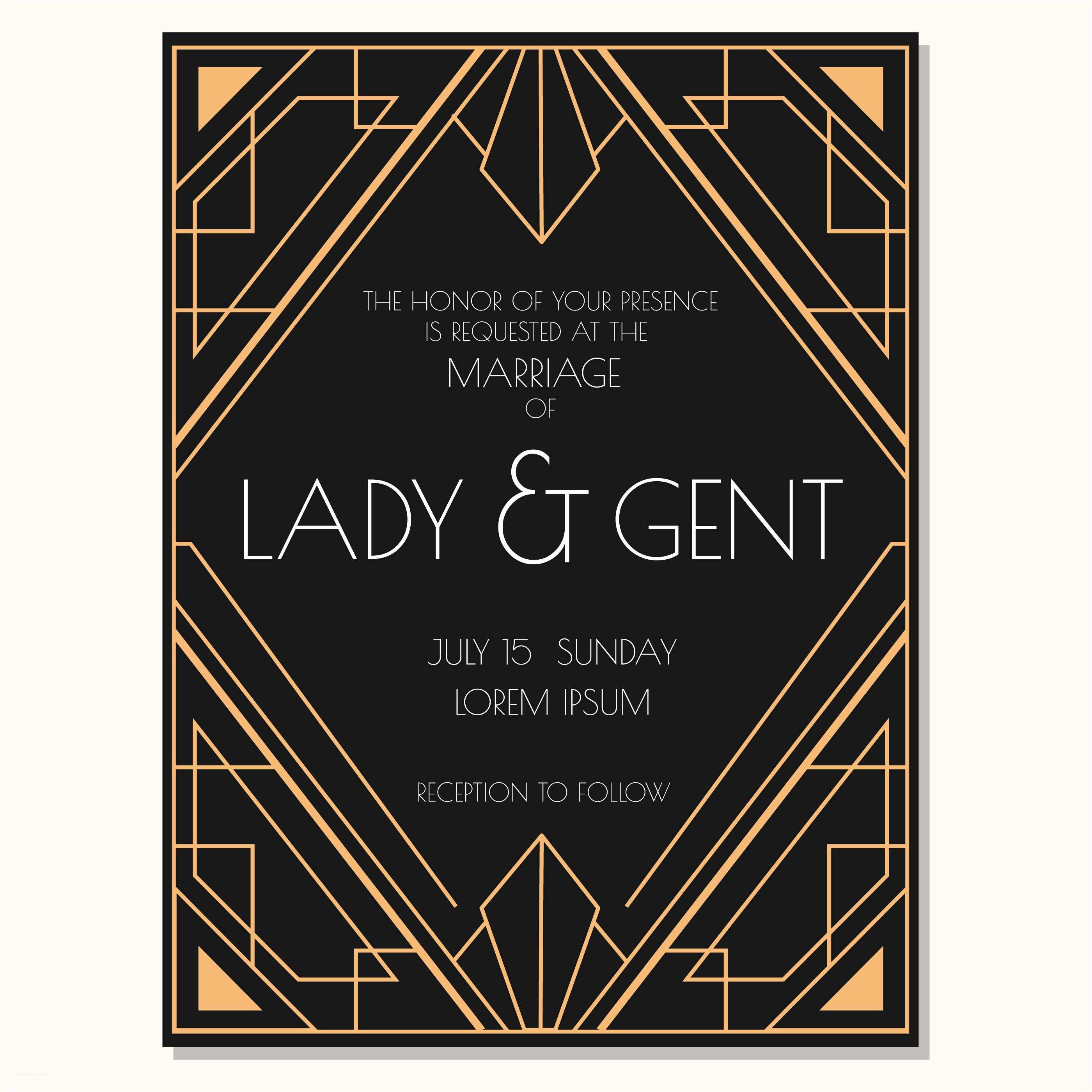 Art Deco Wedding Invitations Free Download Classic Art Deco Wedding Invitation Vector Download Free