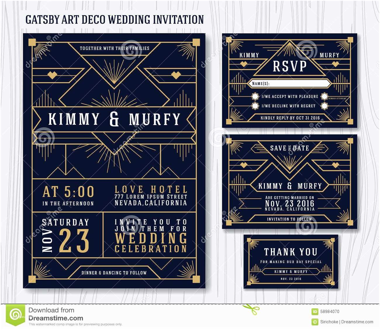 Art Deco Wedding Invitations Free Download Great Gatsby Art Deco Wedding Invitation Design Template
