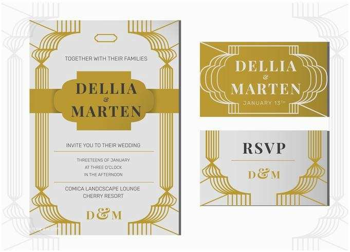 Art Deco Wedding Invitations Free Download Grey Gold Art Deco Line Art Wedding Invitation Template