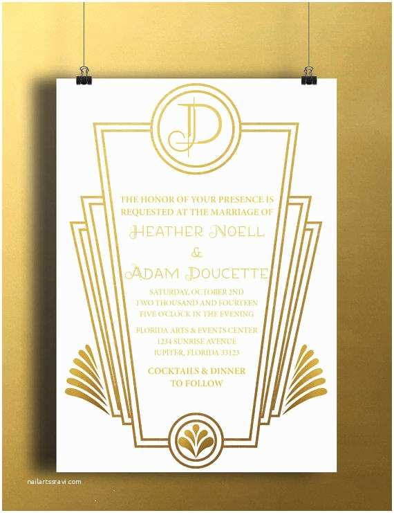 Art Deco Wedding Invitations Free Download Instant Download White Gold Art Deco From Doucettedesign