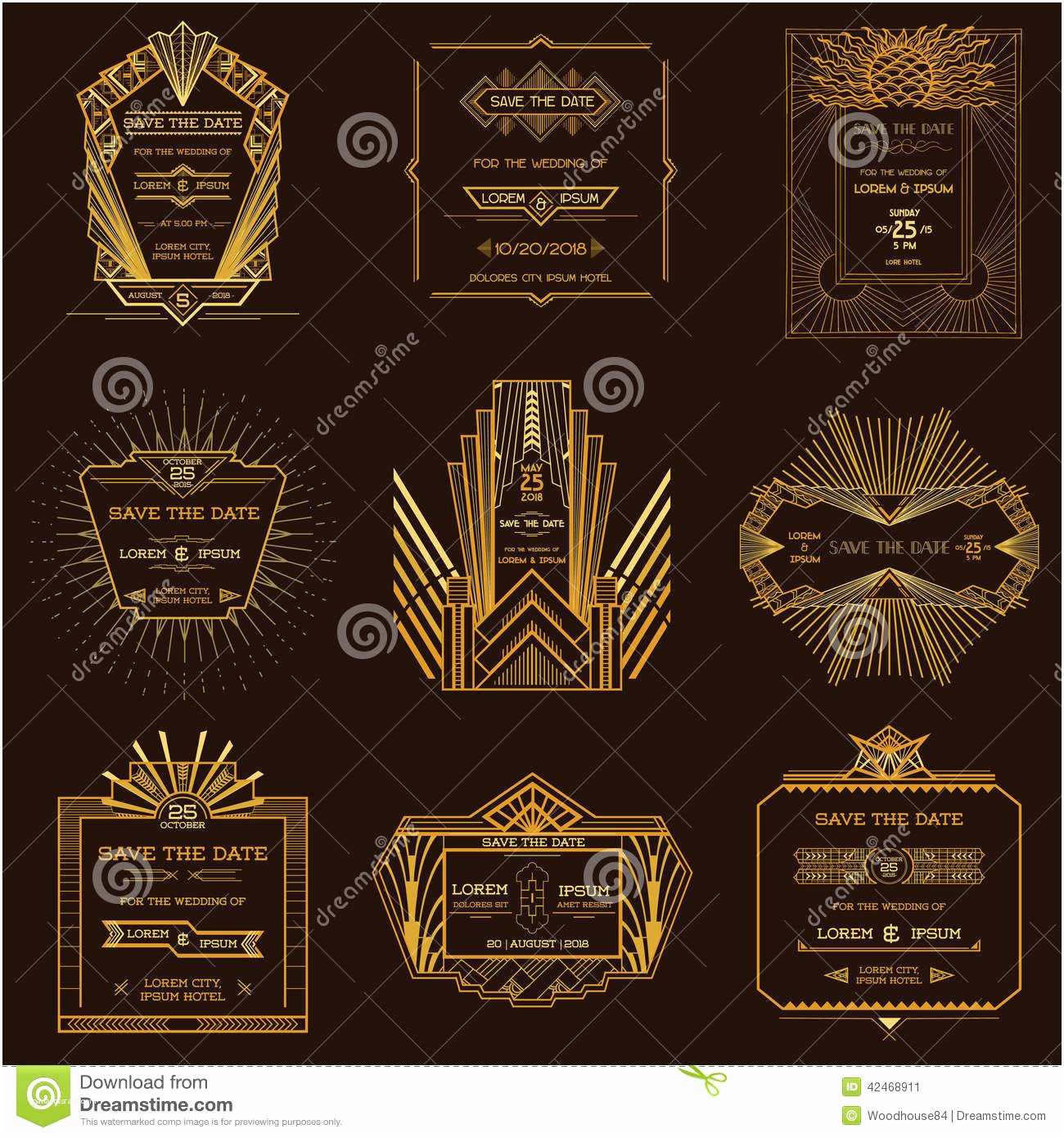 Art Deco Wedding Invitations Free Download Set Wedding Invitation Cards Art Deco Stock Vector