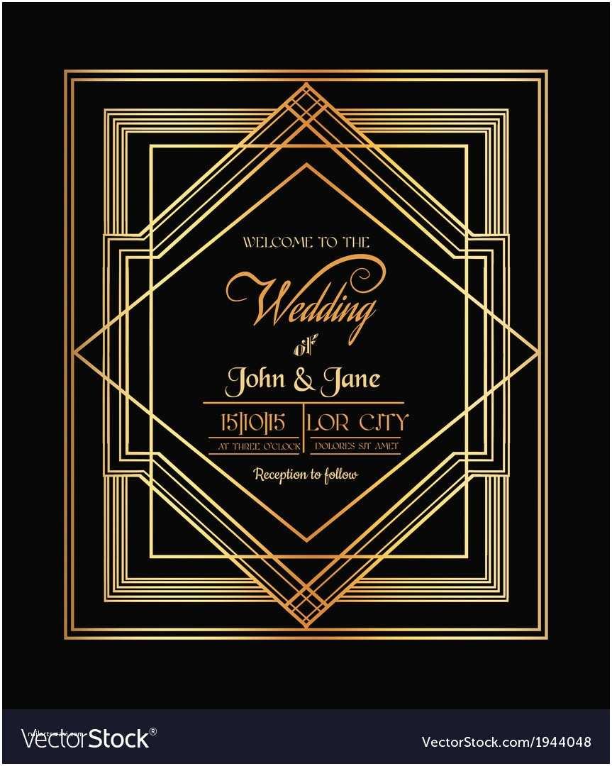 Art Deco Wedding Invitations Free Download Wedding Invitation Card Art Deco Gatsby Style Vector Image